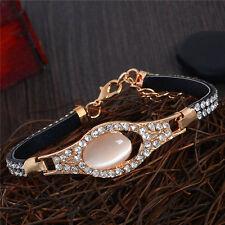 Fashion Gold Opal Crystal Rhinestone Bangle Wristband Bracelet Chain Jewelry New