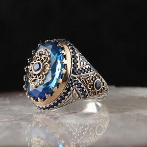 Oval Saphir Herren Ring, Sterlingsilber 925 Herren Handmade Osmanisch Ring Größe