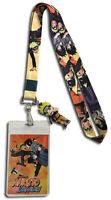 **Legit** Naruto Shippuden Naruto & Sasuke Badge ID Holder Charm Lanyard #37904