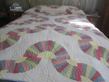 King/Queen         Size Grandmother's Fan Multi-Colored Handmade Quilt