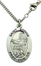 Westman Works St Sophia Solid Pewter Saint Medal 3/4 Inch with Stainless Steel C