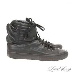 Raf Simons Made in Italy A7020 Black Grained Astronaut Pocket High Sneakers 44