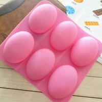 Silicone 6-Cavity Oval Soap Making Mold Tray Chocolate Cake Baking Mold DIY O