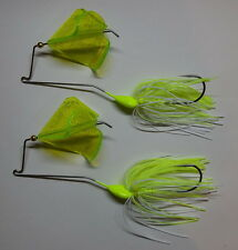 (2) 1/2 Oz Custom Topwater Buzzbait Lures(White/Chart.)-Bass Fishing-Fishing-NEW