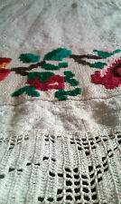 Vintage Romanian table runner traditional embroidered folk rustic Transylvania