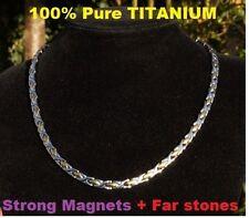 Pure Titanium Magnets Far Fir stones necklace Power Energy Bio Balance 24k gold