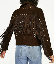 Zara SUEDE LEATHER JACKET fringes Giacca Di Pelle Giacca pelle scamosciata frange borchie S