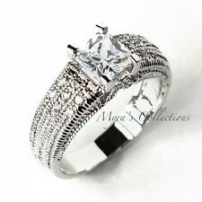 1.4 Ct CZ Princess Cut Vintage Style Anniversary Wedding Engagement Ring Size 9