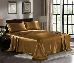 Satin Sheets King [4-Piece, Grey] Hotel Luxury Silky Bed Sheets - Extra Soft 180