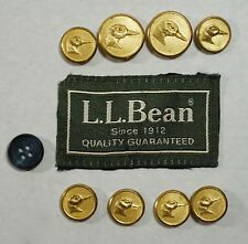 LL BEAN Vtg Duck Buttons Blazer Jacket Replacement Set Gold Brass USA