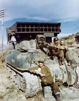 "COLOR WW2 Photo WWII US Army M4 Sherman ""Calliope"" Rocket Tank France 44 / 3072"