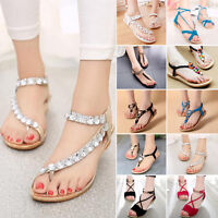 Women's Boho Flat Gladiator Thong Sandals T Strap Summer Beach Shoes Flip Flop A