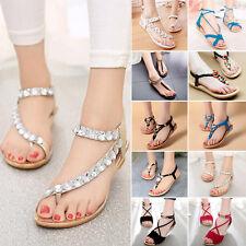 Summer Women Flat Sandals Flip Flops Beach Bohemian T Strap Thong Slippers Shoes