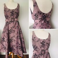 PHASE EIGHT FLORAL FIT & FLARE MIDI EVENING DRESS SIZE 10 50S WEDDING PARTY 11A