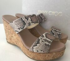 NIB Jimmy Choo 10 B / 40 Leather Espadrille Wedges Snake Print Leather Sandals