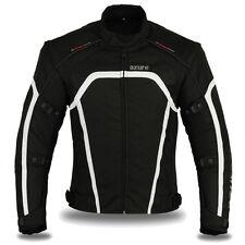 Motorcycle Jacket Textile Waterproof Motorbike Racing Cordura Black/white 2xl