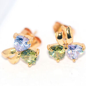 Heart Bow Knot Stud Earrings for Womens Girls Gold Jewelry Fashion Accessories