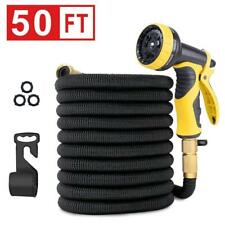 50Ft- 10 Pattern Spray Expanding/Expandable Garden Hose - Solid Brass Connector