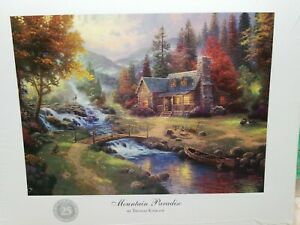 """Thomas Kinkade 11""""x14""""  Print Mountain Paradise 25th Silver Anniversary Perfect"""