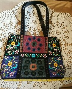 Fully Beaded Embroidered Floral Handbag