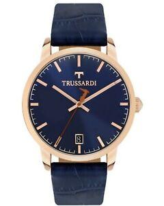 New TRUSSARDI Watch T GENUS Men's Blue Gold Steel R2451113001