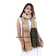 Indian Silk Reversible Kantha Shawl Scarf Bohemian Wraps Boho Ethnic Patch Shawl