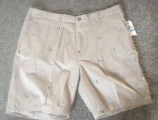Nautica Men's 36 Khaki W/Flags Flat Front Deck Shorts Classic Fit NWT
