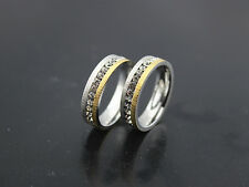 30pcs Silver gold band rhinestone Stainless steel Men's Top Rings Jewelry Lots