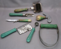Vintage 40-50's Green Kitchen 7 Utensils Wooden Handle Gadget Collection