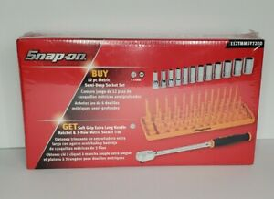 Snap On Tools NEW 12Pc mm Semi Deep Socket Set Extra Long Handle Ratchet Orange