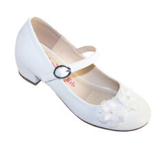 Girls Childrens White Heeled Shoes 1st Holy Communion Flower Girl Bridesmaid