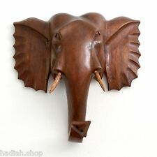 20cms Hand Carved Wooden Elephant Head Wall Plaque Genuine Wood Carving Gift