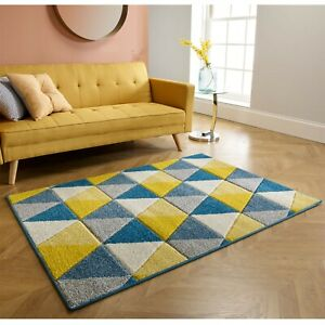 Portland 663 L Grey Blue Yellow Triangle Budget Rug various sizes and runner