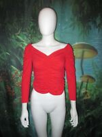 Betty Page Brand Queen of Pinups Red Rouched Longsleeve Blouse size S