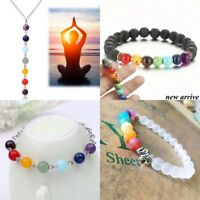 7 Chakra Healing Beaded Bracelet Natural Lava Stone Diffuser Bracelet Jewelry OO