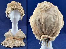Victorian Ecru Net Lace Blue Silk Chenille Rosette Trim Bed Cap Bonnet & Cuffs
