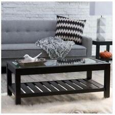 Modern Coffee Table Living Room Black Wood Glass Top Cocktail Furniture Shelf