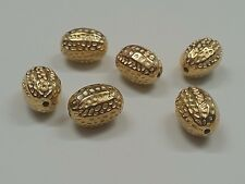 CCB Acrylic 3D Hammered Oval Beads, Qty 10 Golden, 15.5x11mm, Hole: 1.5mm