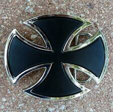 german Iron Cross belt buckle biker motorcycle jeans shield knight templar goth