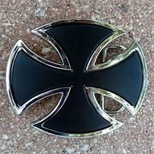 german Iron Cross belt buckle biker motorcycle jeans shield knight templar goth