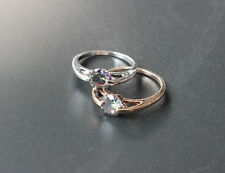 Silver  And Diamond Gold Simple Circle Color Ring Of OL Stone