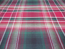 RUBY Green-White-Red Tartan Plaid Upholstery Fabric By the Yard