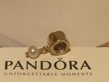 AUTHENTIC PANDORA 14K GOLD BEAD WITH PEARL DANGLE CHARM - 750219P