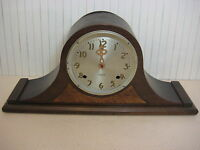 "ANTIQUE GILBERT TAMBOUR MANTLE CLOCK, 21"" WIDE X 9 1/2"" TALL X 5"" DEEP, 6 LBS"