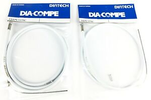 Dia-Compe BMX bicycle 5mm LINED front and rear embossed brake cables WHITE - NEW