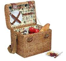 Avanti 2 Person Picnic Basket Light Brown Willow Wicker Cane Carry Basket