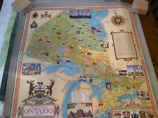#12-25  vintage poster  22 x 23  wall map  travel poster ontario canada  1950