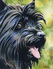 BLACK CAIRN TERRIER Watercolor 8 x 10 Art Print Signed by Artist DJ Rogers