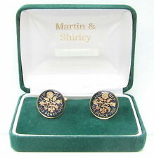 1967 6D cufflinks from real coins in Blue & Gold