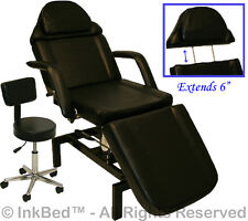 InkBed Tattoo Black Adjustable Hydraulic Table Bed Chair Ink Bed Salon Equipment